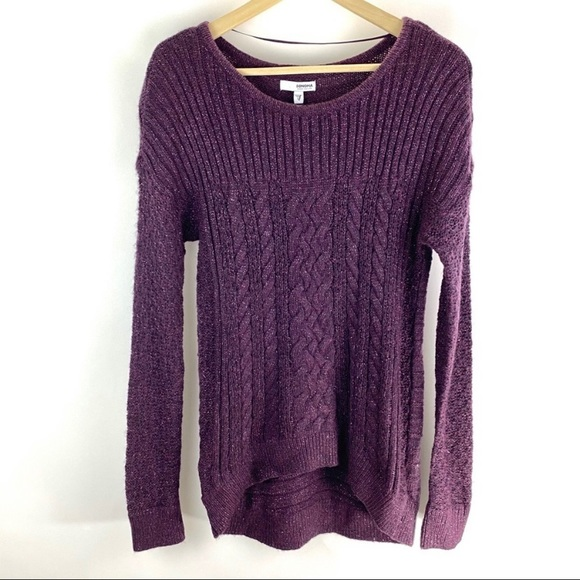 Sonoma Purple Cable Knit Long Sleeve Sweater Sz S